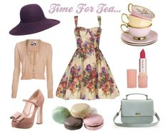 What does one wear to a tea party? A floral tea dress of course! Paired with a floppy hat, suede mary jane peep toes and a vintage, baby blue bagensure guests get into the spirit too with a dress code of pretty hats, fascinators and dainty gloves.
