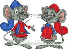10207 Mouse couple machine embroidery set