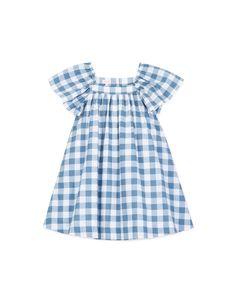 Vestido cuadros azul viejo para niña (2-10 años)|Gocco  - Tienda oficial Gocco