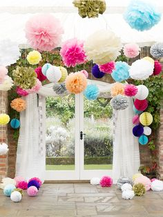 cardboard chandeliers for decoration at a party   Beautiful, colourful pom poms