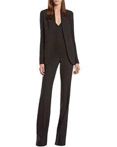 Gucci Wool Knit Insert Jacket, V-Neck Top & Skinny Flare Pants