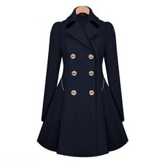 This trench coat can make instantly a fashionable statement with minimal effort. You will look stylish with its design. Featuring a two row button tabs, long sleeves, pleated back, flared silhouette a