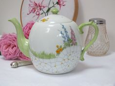 China Teapot - Country Cottage Look Art Deco / Handpainted Flowers / Green Pink Blue Yellow