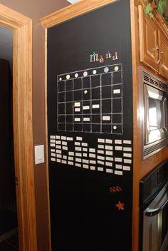 Menu board made on a magnetic chalkboard wall! Loves!