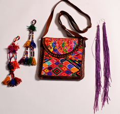 Guatemalan textile leather boho purse by isleempress on Etsy