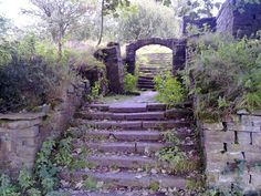 Enjoyable visit to the abandoned Lever Park, Rivington. Brief history: 'Lever Park on the east bank of the Lower Rivington reservoir is named after Wi Derelict Places, Abandoned Places, Stairways, Garden Bridge, Places To Visit, Around The Worlds, England, Outdoor Structures, Park