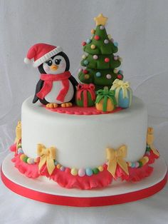 This penguin Christmas cake is super cute but I'm digging that tree the most