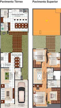 213-Planta baixa humanizada - Projetos de casas Small Floor Plans, Small House Plans, Duplex House Plans, House Floor Plans, Minimalist House Design, Minimalist Home, Building A Small House, Cluster House, Small Villa