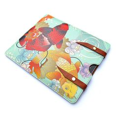 Leather iPad case  Koi and Lotus Flower Tattoo by tovicorrie, $95.00