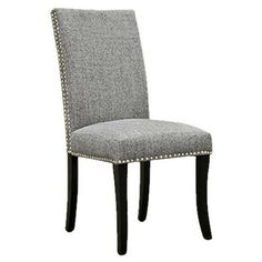 Nailhead-trimmed side chair with charcoal-hued upholstery and a wood frame.  Product: Set of 2 chairsConstruction Materia...