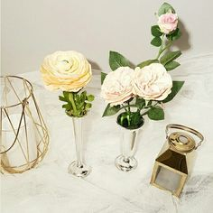 Brighten your space with these fabulous  faux flower vase arrangements.