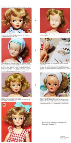 Adorable & also brilliant custom faceup tutorial by Suna on a vintage Tammy doll. 60s Toys, Doll Toys, Tammy Doll, Madame Alexander Dolls, Vintage Barbie Dolls, Doll Parts, Doll Repaint, Doll Hair, Diy Doll