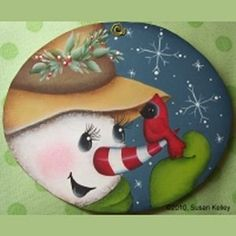 Puddles of Paint 2009 Ornament CD Christmas Rock, Christmas Crafts, Christmas Decorations, Gingerbread Ornaments, Painted Christmas Ornaments, Snowman Faces, Christmas Drawing, Snowman Crafts, Rock Crafts