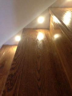 Hardwood steps with inset lighting Hardwood Floors, Flooring, Room Organization, Restoration, Stairs, Lighting, Wood Floor Tiles, Wood Flooring, Stairway