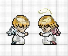 cross stitch angels n~ such cuteness! Cross Stitch Fairy, Cross Stitch Angels, Mini Cross Stitch, Cross Stitch Cards, Counted Cross Stitch Patterns, Cross Stitch Designs, Cross Stitching, Cross Stitch Embroidery, Broderie Simple