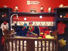 Love the lockers on each side of bed....no crb though lol St. Louis cardinals bedroom