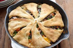 Give chicken the night off with this beef and vegetable skillet bake. The packaged crescent roll dough simplifies prep and makes an impressive crust.