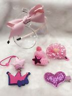Handmade Girl's Hair Accessories 6 Items Set- Headband Hair clip & Elastic Band