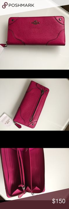 NWT Coach Mickie Accordion zip wallet Coach F52645 Leather zip wallet Cranberry  $275 7.75 x 4 x 1 Coach Bags Wallets