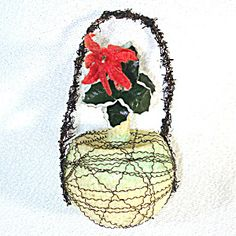 Poinsettia Victorian Wire Wrapped Glass Christmas Ornament. Click on the image for more information.