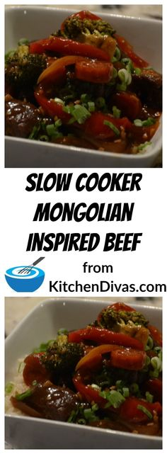 We love this version of what we call Slow Cooker Mongolian Inspired Beef.  Ken never includes the hoisin or dry sherry.  I always do.  Both versions are incredible and include lots of vegetables.  Served on any kind of noodle or a bed of rice.  This is an easy and tasty dish that works beautifully every time!  #recipe #beef #slowcooker #food #foodideas