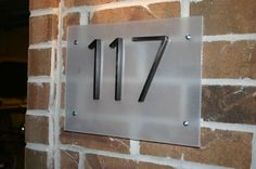 "Contemporary Street Number Plaque DIY - Sand or paint acrylic sheet to ""frost"" it and attach purchased numbers. 8 House Number, House Number Plaque, House Address, Address Plaque, Address Numbers, Address Signs, Contemporary House Numbers, Palm Springs, Diy Casa"