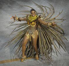 Feathered samba starlet, Rio de Janeiro Carnival Sambodrome