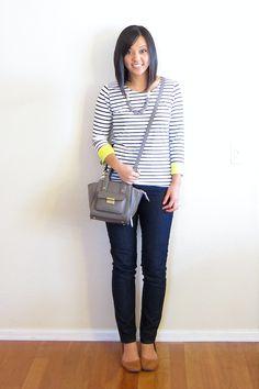 Putting Me Together: Neon Trim Jeans - Ann Taylor Loft Necklace Shirt