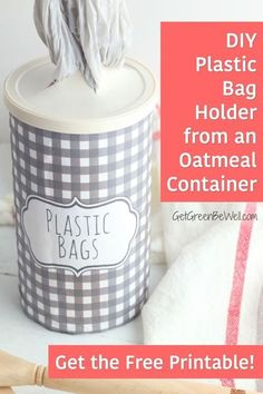 Finally contain all of those plastic grocery bags! Create this beautiful container with our free printable and an old oatmeal container. #DIY #upcycle #reuse #reducereuserecycle #craft Oatmeal Container Crafts, Diy Plastic Bag Holder, Free Printable Artwork, Recycled Fashion, Recycled Clothing, Soda Can Art, Grocery Bag Holder, Green Living Tips, Plastic Grocery Bags