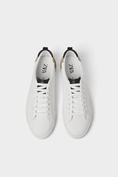 Casual lace-up sneakers. Back pull tab. Contrasting colored pull tab and tongue. Contrast, Lace Up, Pairs, Sneakers, Casual, Shoes, Products, Fashion, Zara Man
