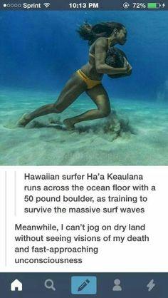Sista Hawaiian surfer hardcore resistance training....