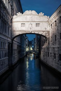 The Bridge of Sighs in the evening in Venice