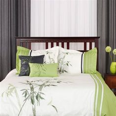 green and charcoal gray bamboo bedding #bedroom #decor #bedding