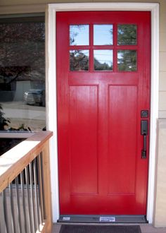 Interesting idea: Have your front door painted by an auto body shop! (Color shown is Ladybug Red.)