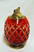 Bohemian Czech Vintage Ruby Blood Cranberry Red Cut Glass Table Lighter