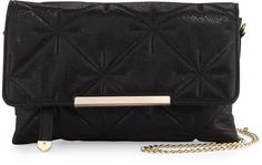 Neiman Marcus Quilted Chain-Strap Crossbody Bag, Black