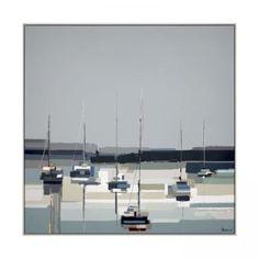 Ulyana Hammonds Palette aus stählernen Grautönen, blauen Flecken und lebhaften moosigen Grüntönen kontrastiert mit der perlweißen Clutch sonnenbeschienener Cottages und schafft ein Gefühl von Ruhe und Gelassenheit, wenn der Tag zur Nacht wird.Größe: H 91 cm x B 47 cm x T 3,6 cm (H 35,8 Zoll x B 18,5 Zoll x T 1,4 Zoll) Framed Canvas Prints, Canvas Frame, Canvas Wall Art, Framed Art, Painting Frames, Painting Prints, Reflection Pictures, Bath Store, Green Pictures