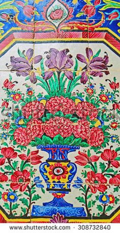 Dry Brush Painting Ancient Traditional Persian Style Tile ...