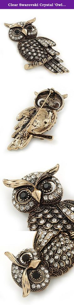Clear Swarovski Crystal 'Owl' Brooch In Gold Plating - 60mm Length. Brighten up any outfit with this Clear Swarovski Crystal 'Owl' Brooch In Gold Plating. The owl-shaped pin features a gold-tone finish heavily encrusted with round-cut clear Swarovski crystals for a stunning sparkling look. The eyes made of two jet black stones. The pin measures about 60mm L x 35mm W, and secures with a flag pin and revolver fastening.