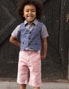 We'll take the vest in a size 4, the shorts in a size 6, and the boy in age 5