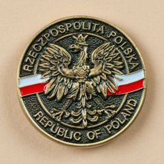 """Lapel Pin - Republic of Poland by Polish Pins. $6.95. Pin measures: 1.0"""" in Diameter. Package in a clear polybag. Design also available as Tie Clip, Necklace, Money Clip & Bolo Tie. Antique gold plated butterfly clutch lapel pin of the Polish Eagle with the Polish Flag banner in background. Around the outside circle of the image is written bilingual, """"Rzeczpospolita Polska - Republic of Poland"""".  - Pin measures: 1.0"""" in Diameter - Package in a clear polybag. -..."""