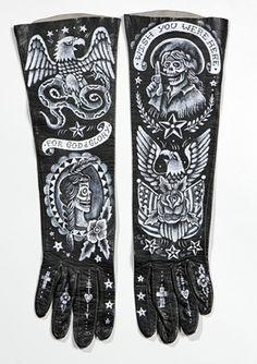.guantes negros rockeros
