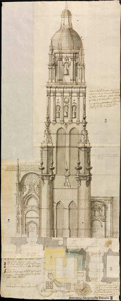 [Proyecto para reforzar el fuste de la torre de la catedral de Salamanca]. Ribera, Pedro de 1681-1742 — Dibujo — 1737
