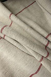 Vintage Homespun linen / hemp yardage 4.5 YDS LOVELY wide stripes ~ fabric ~