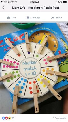 [Image Only] Number Matching Wheel using clothespins and stickers (pinned by Super Simple Songs) for matematika Numeracy Activities, Counting Activities, Preschool Learning Activities, Kindergarten Math, Classroom Activities, Toddler Activities, Preschool Activities, Educational Activities, Nursery Activities Eyfs