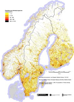 """Population density of Norway, Finland and Sweden Pinstripedsuit: """"Source (BMP) has better pixel-wise detail. Human Geography, World Geography, Lappland, Shoulder Armor Tattoo, Fjord, Map Design, Illustrations And Posters, Data Visualization, Europe"""