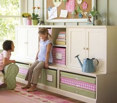 (Pottery Barn Kids, $969 on sale) A bulletin board or a large mirror is attractive over it. The cabinet doors could hide backpacks or sports bags. If doing a similar custom built unit, add more trim work and a wider seat area.