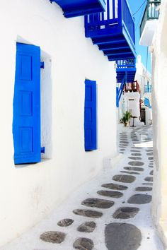 Blue & White of Mykonos, Greece. When I think of when I was in Mykonos this is what I remember and souvlaki is at 2am.