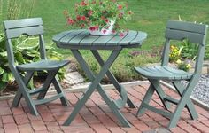 Relax outdoors with the Rose Bistro Patio Set. A charming and traditional rose pattern is set into the round table and two chairs to blend with your outdoor ambience. This outdoor bistro patio set is perfect for tea in the garden or patio, or deck.