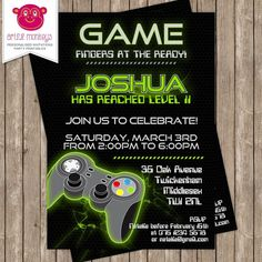Video game birthday party invitation game truck video game